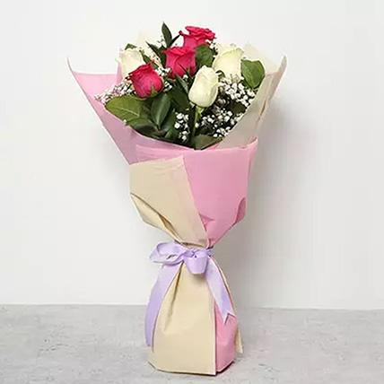باقة مكونة من 3 ورد زهرية و 3 ورد بيضاء: هدايا الشكر والتقدير أون لاين
