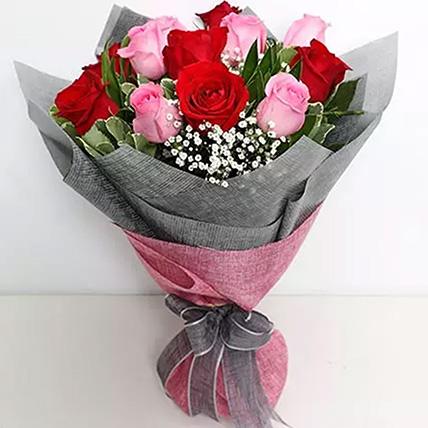 باقة مكونة من 6 ورد زهرية و 6 ورد حمراء: أفكار هدايا للحبيب أون لاين