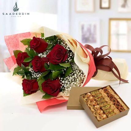 6 Red Roses With Baklawa Sweet: حلويات عربية أون لاين