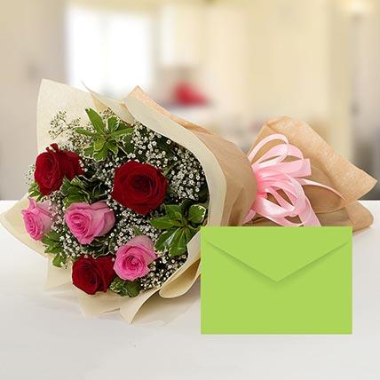 Attractive Roses Bouquet With Greeting Card: توصيل الزهور في المدينة
