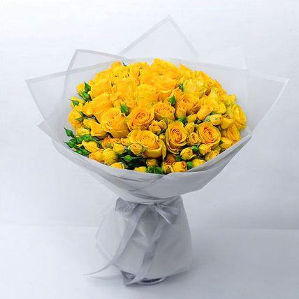 Beautiful Yellow Rose & Spray Rose Bouquet: