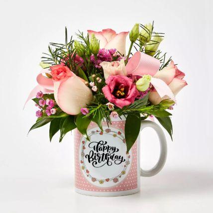 Birthday Mug Flowers Arrangement: كومبو الهدايا