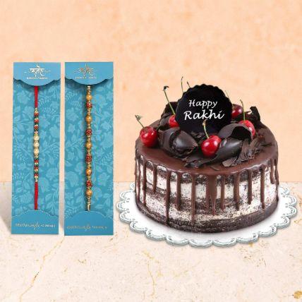 Black Forest Cake & Rakhi Set: Rakhi for Brother