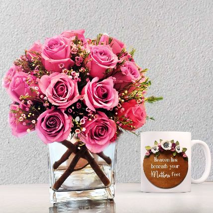 Divine Roses Arrangement With Printed Mug: Gifts for Mothers Day