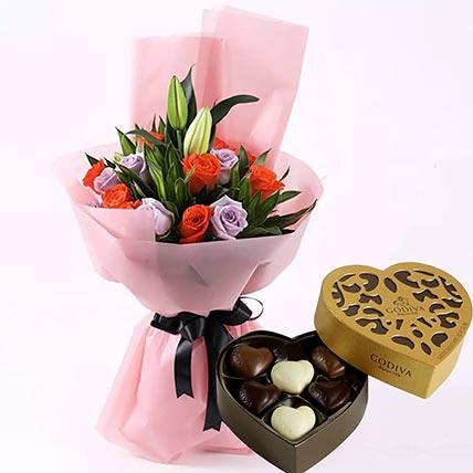 باقة أزهار أنيقة وشوكولاتة جوديفا: شوكولاتة جوديفا أون لاين