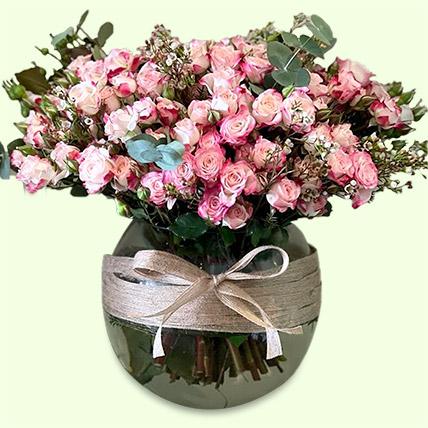Exquisite Pink Spray Roses Vase Arrangement: