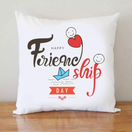 Friendship Day White Cushion: هدايا يوم الصداقة أون لاين