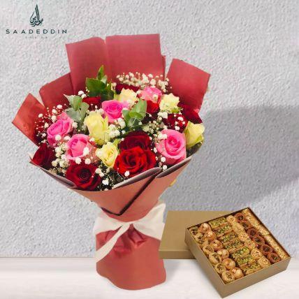 Hamper of Beautiful Mix Roses And Baklawa: