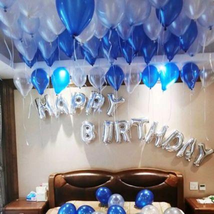 Happy Birthday Blue and Silver Balloon Decor: بالونات أون لاين
