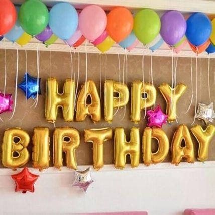 Happy Birthday Colourful Balloon Decor: