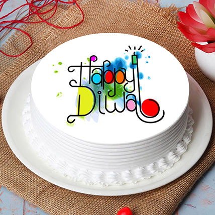 Happy Diwali Print Chocolate cake: هدايا لديوالي