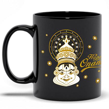 Happy Onam Black Printed Mug: Onam Gifts