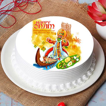 Happy Onam Festival Wishes Photo Cake: