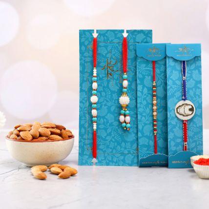 Kids Rakhi Duo And Blue Lumba Rakhi Set With Healthy Almonds: Rakhi With Dryfruits