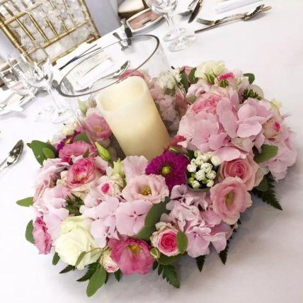 LED Candle Floral Table Arrangement: