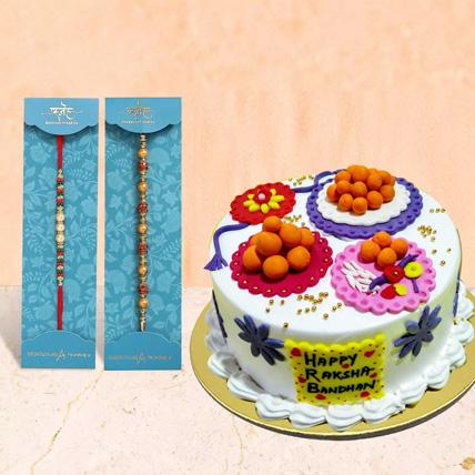 Pearl Rakhi With Cake: Rakhi Online