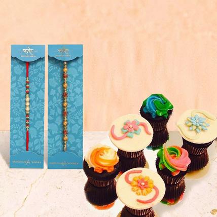 Set Of 2 Rakhi With Cupcake: Rakhi Online