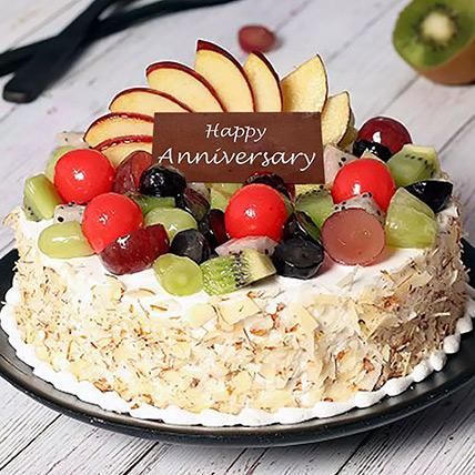 Vanilla Fruit Cake for Anniversary Half kg: كيك الفواكة الطازجة اون لاين