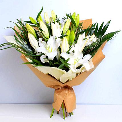 White Beauty Lilies Bouquet: Lily Flower Bouquets