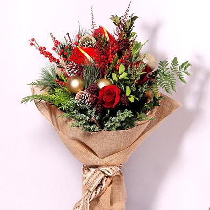 Xmas Theme Flower Bouquet: هدايا الكريسماس أون لاين