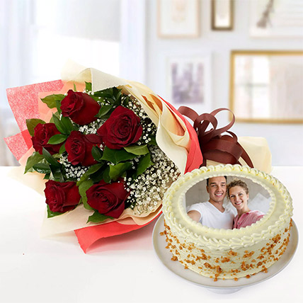 1 Kg Butterscotch Cake With Red Roses Bouquet
