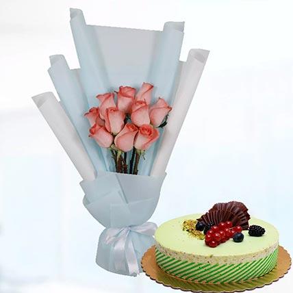 10 Orange Roses & Kifaya Cake 4 Portions