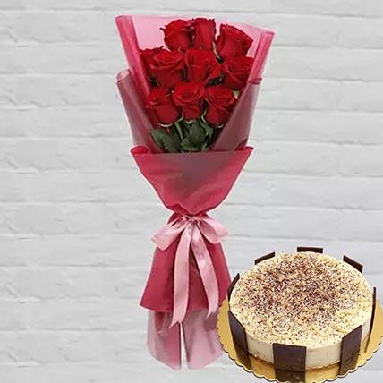 10 Red Roses & Tiramisu Cake 12 Portions