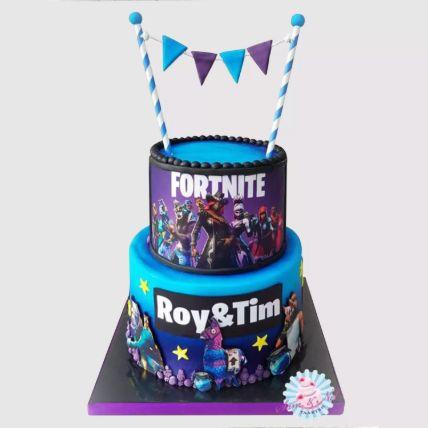 2 Tier Fortnite Chocolate Cake 3 Kg