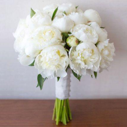 20 White Peonies Bouquet