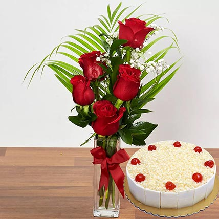 5 Red Roses & White Forest Cake 12 Portions