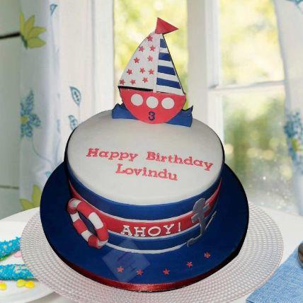 Ahoy Captain Theme Cake 16 Portions Chocolate