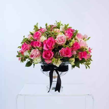 Alluring Pink Rose & Spray Rose Vase Arrangement