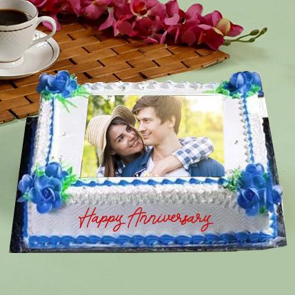 Anniversary Floral Photo Cake