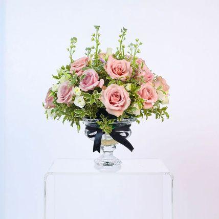 Appealing Light Pink Rose & Spray Rose Arrangement