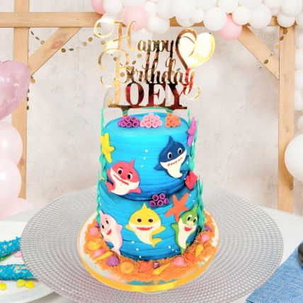 Baby Shark Theme Cake 12 Portions Vanilla