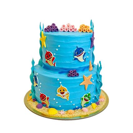 Baby Shark Theme Cake 16 Portions Vanilla