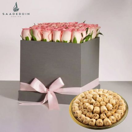 Baklawa Half Kg And Pink Roses Hamper