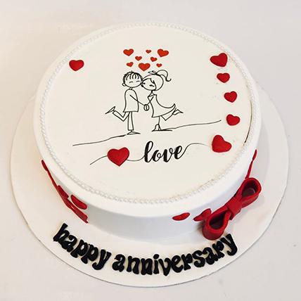 Beautiful Anniversary Cake 8 Portions Vanilla