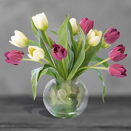 Beautiful Mixed Tulips Glass Vase