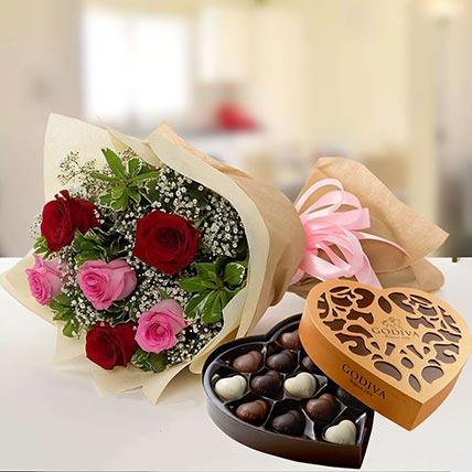 Beautiful Roses & Godiva Chocolates 500 gms