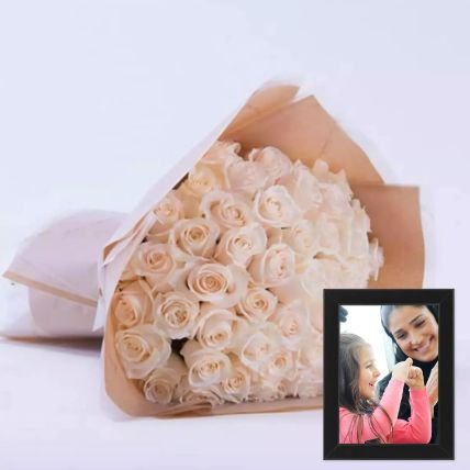Beautiful White Roses Bouquet With Photo Frame