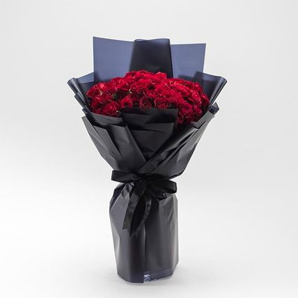Beautifully Tied Romantic Red Rose Bouquet