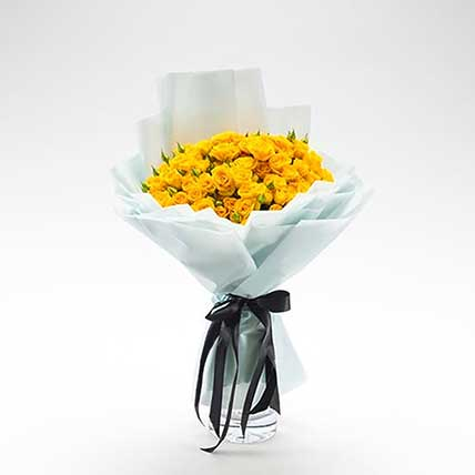 Beautifully Tied Yellow Spray Roses Bouquet