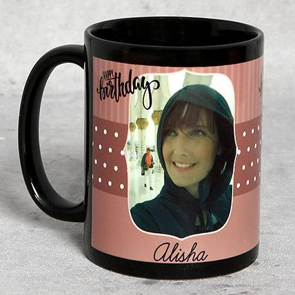 Black Personalised Birthday Mug