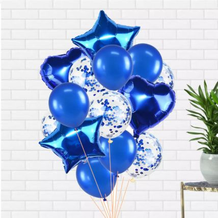 Blue Latex and Foil balloons