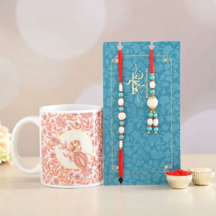 Blue Lumba Rakhi Set And Printed Mug Combo