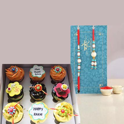 Blue Pearl And Lumba Rakhi Set With Cupcake