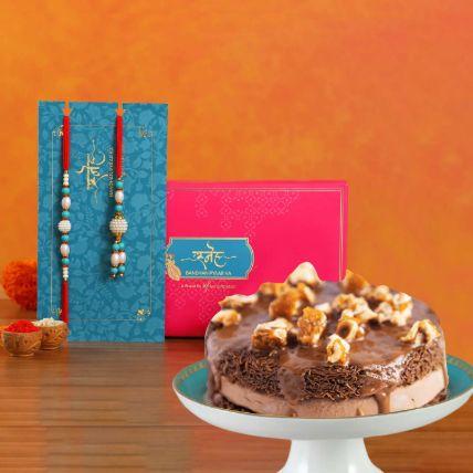 Blue Pearl And Lumba Rakhi With Choco Kunafa
