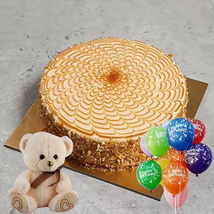 Butterscotch Cake & Soft Toy Combo