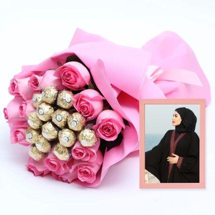 Classy Light Pink Photo Frame & Roses